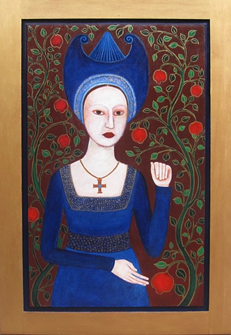 tarot, High Priestess, portrait, acrylic, painting Medieval Queen