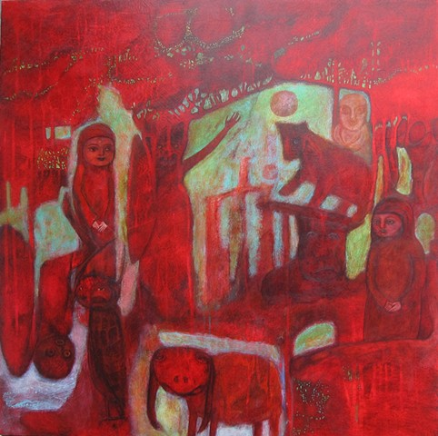 red crimson cabal forest night green bear medieval figures bat Portland artist Cathie Joy Young