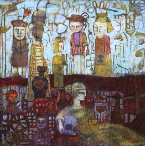figures, bloodlines, inherited, kings, queens, golf, Scotland, Ireland, Wales,Ancestry,skull, wine,art,painting,expressionism,structure, underground, England, red, purple,