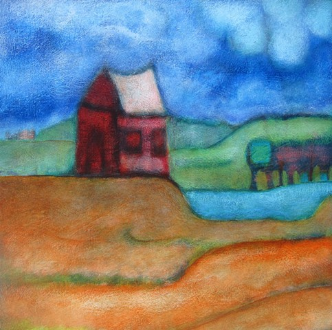 small red house painting Peoples Art Portland artist Cathie Joy Young