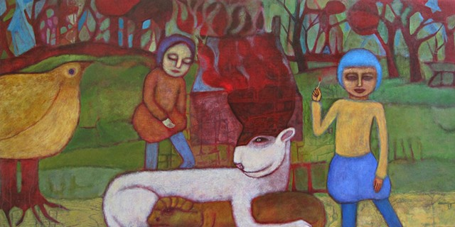Alchemy fuel fire house forest figures farm lion air reptile water medieval painting Portland artist Cathie Joy young