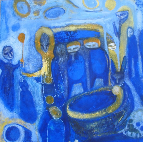 blue witches yellow gold cauldron expressionism Portland art