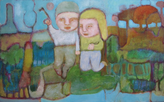 key, children, flight, dream, painting, expressionism, Portland, figures, sky, landscape