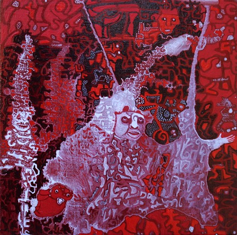 small red acrylic painting by Cathie Joy young