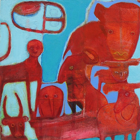 red blue abstract buffalo ark animals bird bison monkey