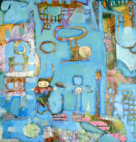 blue green rust gold pink expressionism figures structure Portland