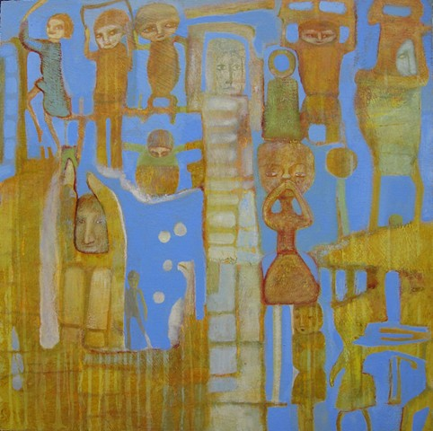gold blue periwinkle buildings structure figures history symbolism expressionism Portland
