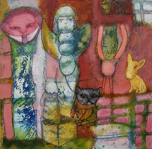 mixed media figures cat dog angel expressionism abstract rabbit angel butterfly