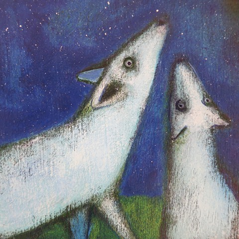 blue starry sky with wolves dogs howling acrylic painting