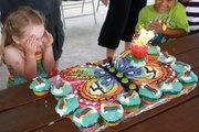 Rainbow Cake with Cupcakes