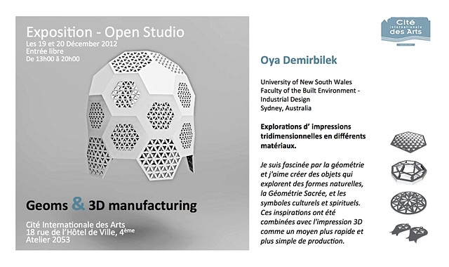 Geoms & 3D Manufacturing - Paris 2012