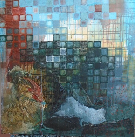 mixed media painting - refugees over water