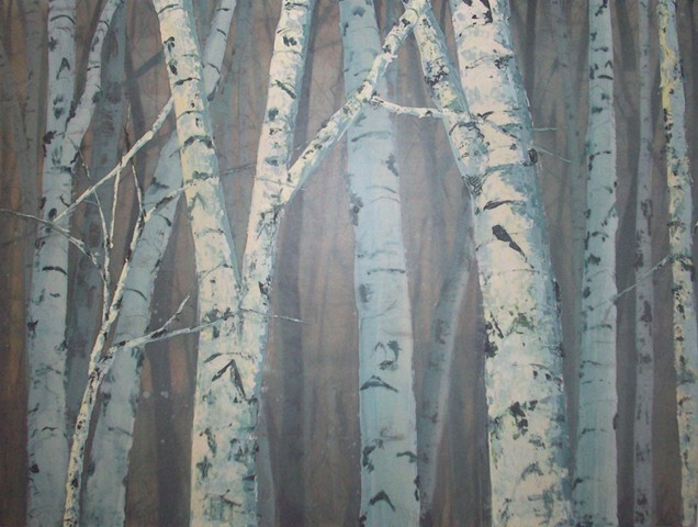Roadside Birches, Day  SOLD