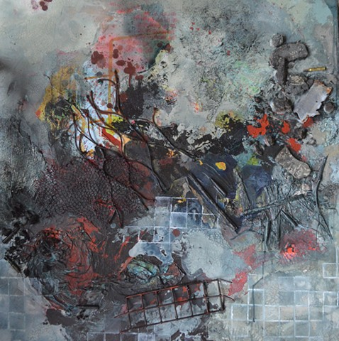 mixed media painting about the absence and destruction created by war