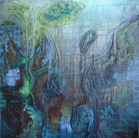 Mixed media painting: Meditation on migration due to sea level rise