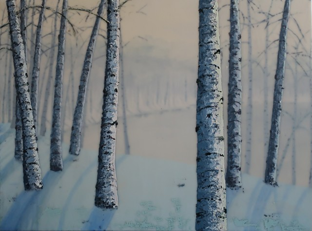 birch trees overlooking the pond in winter