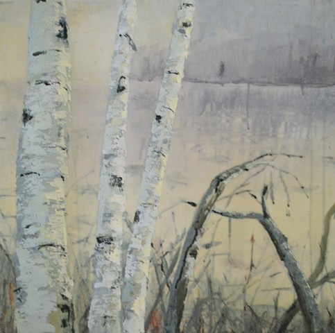 birch trees print painting