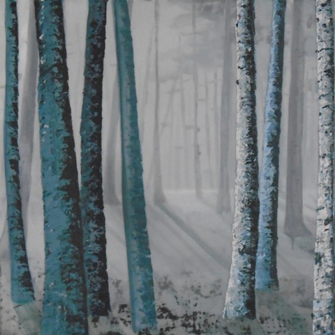 birch trees, view to a foggy interior