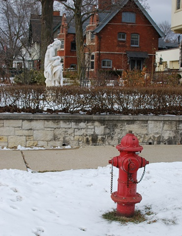 Hydrant and statue