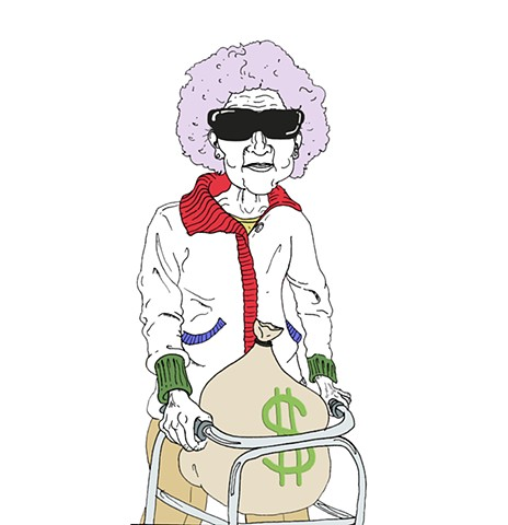 Money Gran Character from the Devendra Barnhart, 25th Ammendment Music Video