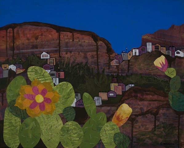 Mixed media painting desert Sedona cactus flower