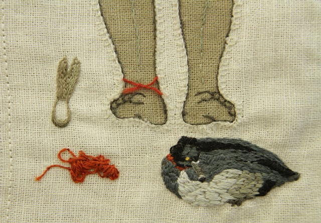 Scissors, string, and ring necked duck (Detail)