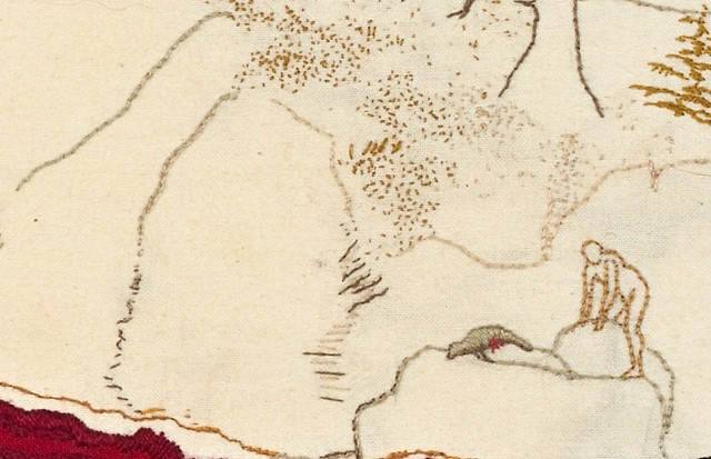 Red Seascape (detail with man and seal)