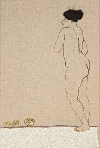 naked woman with cabbage plants embroidery sampler
