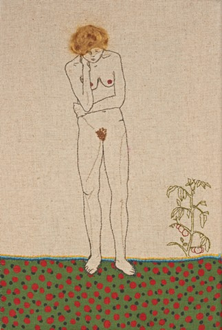 Naked woman with tomato plant embroidery sampler