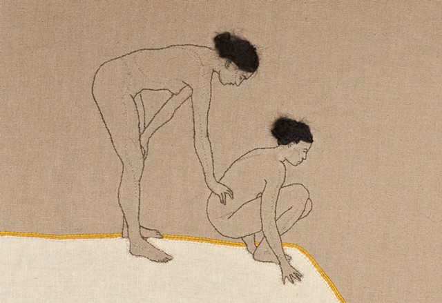 two naked women leaning over hill