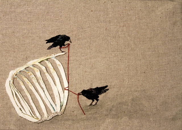 Crows with cow ribs