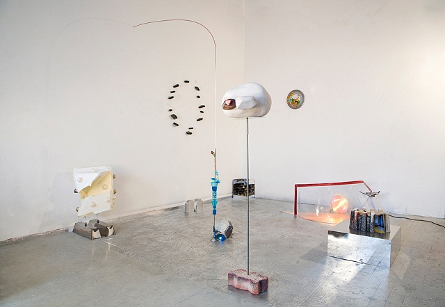 Installation view of nine sculptures in my studio, 2009.