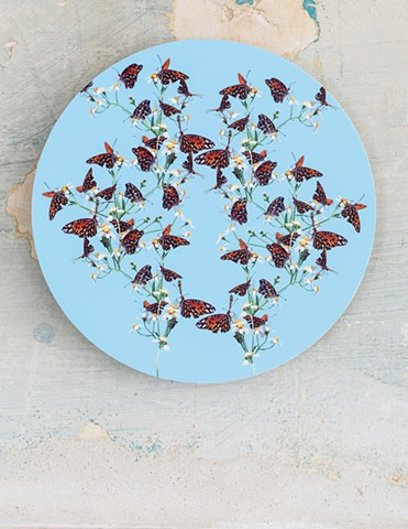 gulf fritillary butterfly blue orange green white yellow art by muffin sacred geometry