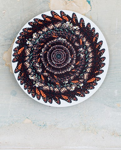 monarch butterfly repetition sacred geometry orange black white  green yellow art by muffin