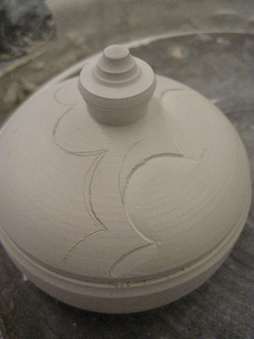cloudline porcelain box--initial carving