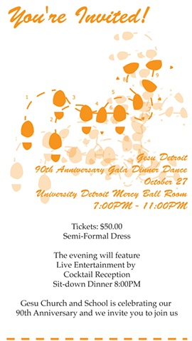 Gesu Detroit Dinner Dance Gala Ticket Design