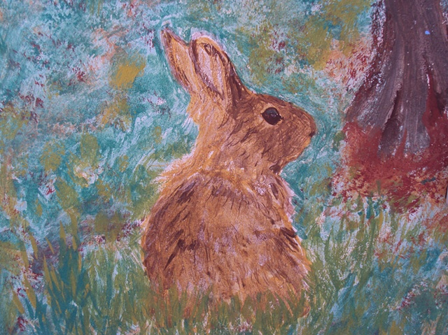 detail of mural, rabbit