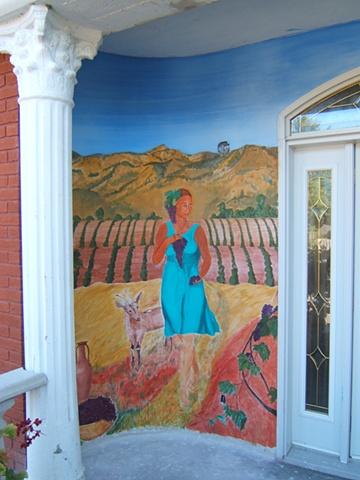 Buon fresco exterior mural in Northern Ontario, Canada.