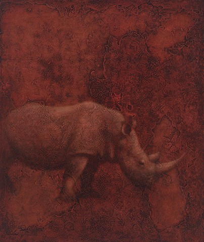 oil painting of a rhinoceros on lace textured background by susan hall
