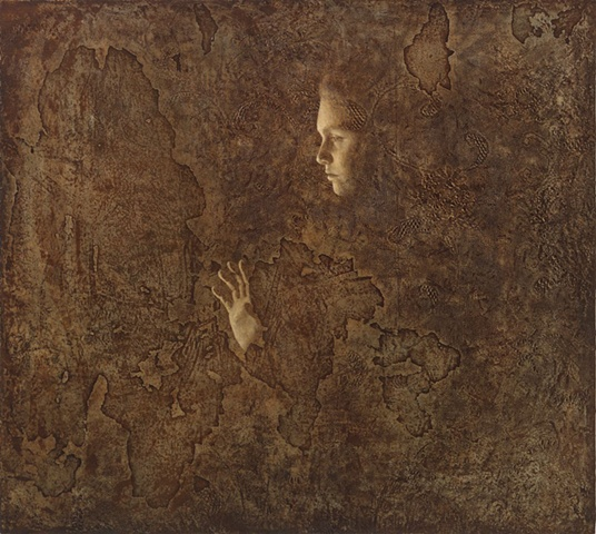 oil painting of a female figure on a lace textured background by susan hall