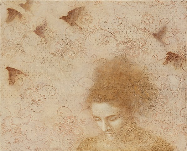 oil painting, lace. birds, birds in flight, texture, monochromatic, woman