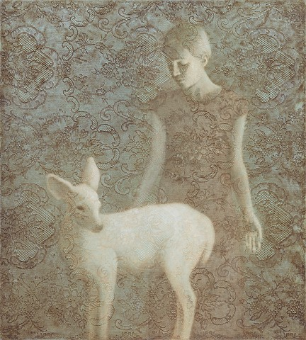girl, white deer, lace, blue, brown, texture