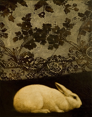 oil painting of rabbit with lace on dark wood panel by susan hall