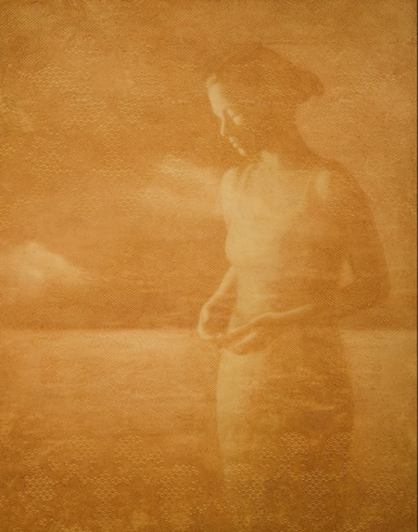 oil painting of a female figure in a landscape on a lace background by susan hall