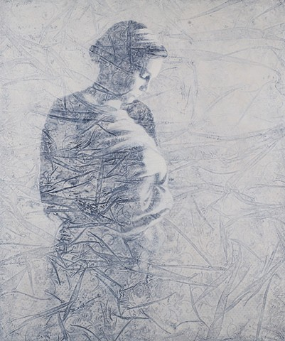 oil painting of a female figure on a wrinkled lace background by susan hall
