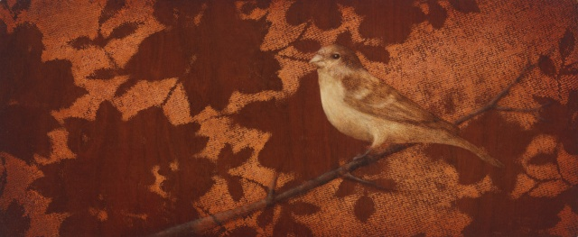 oil painting of bird on lace wood panel by susan hall