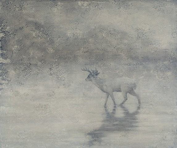 oil painting of deer buck on lace grey by susan hall