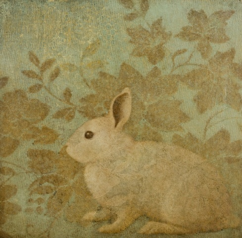 oil painting of rabbit with lace on wood panel by susan hall