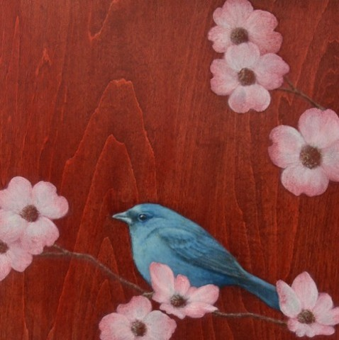 bird painting, susan hall, indogo bunting, bird art