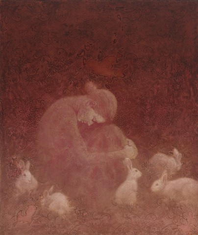 girl, woman, figurative, lace, rabbits, texture, red, oil painting